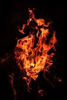 Fiamme di falò di notte. fiamme di fuoco su sfondo nero