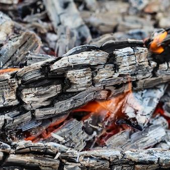 Fiamme di fuoco e carboni ardenti di legna bruciata