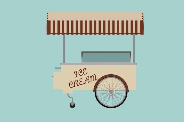 Illustrazione concettuale piana del carretto del gelato su un fondo verde