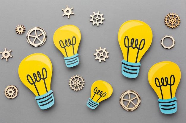 Disposizione astratta piatta con elementi di innovazione