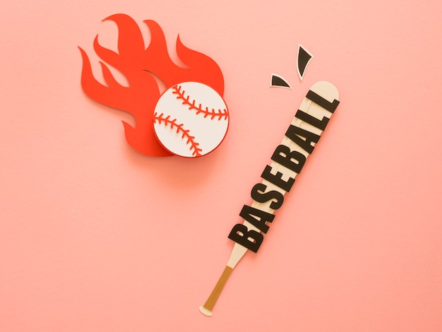 Lay piatto di mazza da baseball con palla