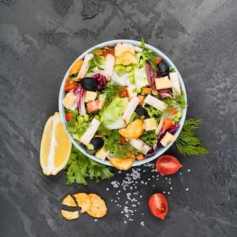 Composizione piatta laici di verdure sane Foto Premium
