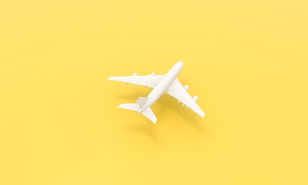 Design piatto laico del concetto di viaggio. piano bianco su sfondo giallo. viaggio in aereo vacanza fine settimana estate mare avventura viaggio viaggio biglietto tour concept. rendering 3d.