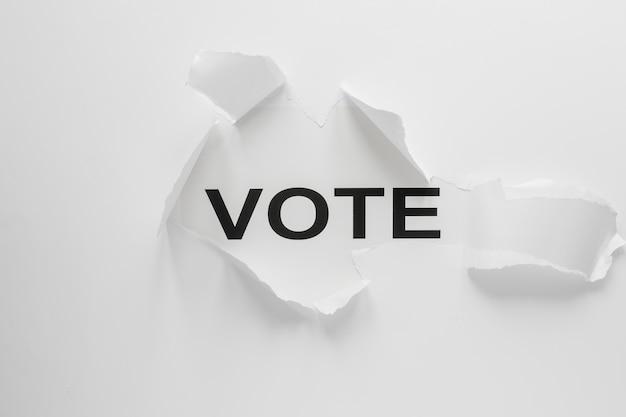 Disposizione piana del concetto di elezioni con lo spazio della copia