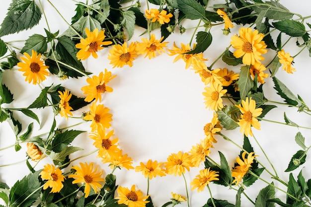 Bordo del telaio piatto laici con mockup di spazio vuoto copia fatto di fiori margherita gialli su bianco