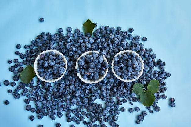 Disposizione piana dei mirtilli succosi organici freschi in una ciotola su fondo blu, vista superiore, spazio della copia. concetto di alimentazione sana e dietetica, antiossidante, vitamina, cibo estivo.