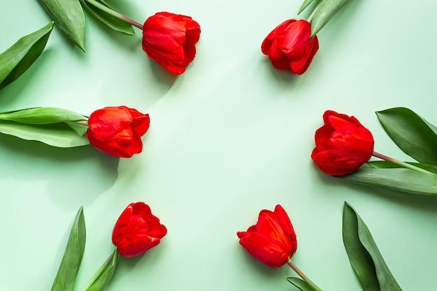 Biglietto di auguri piatto tulipani rossi luminosi piegati in una cornice rotonda su uno sfondo verde delicato