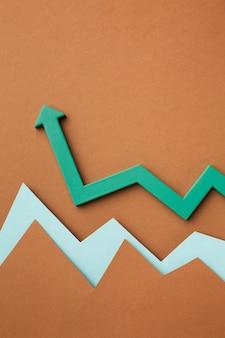 Disposizione piatta della presentazione delle statistiche di crescita con la freccia