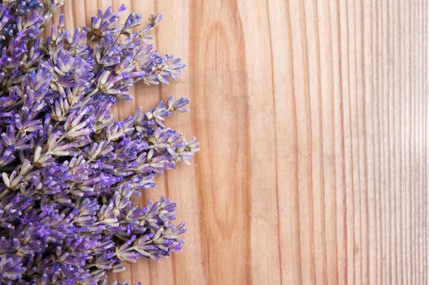 La lavanda piana di disposizione fiorisce su fondo di legno con lo spazio della copia