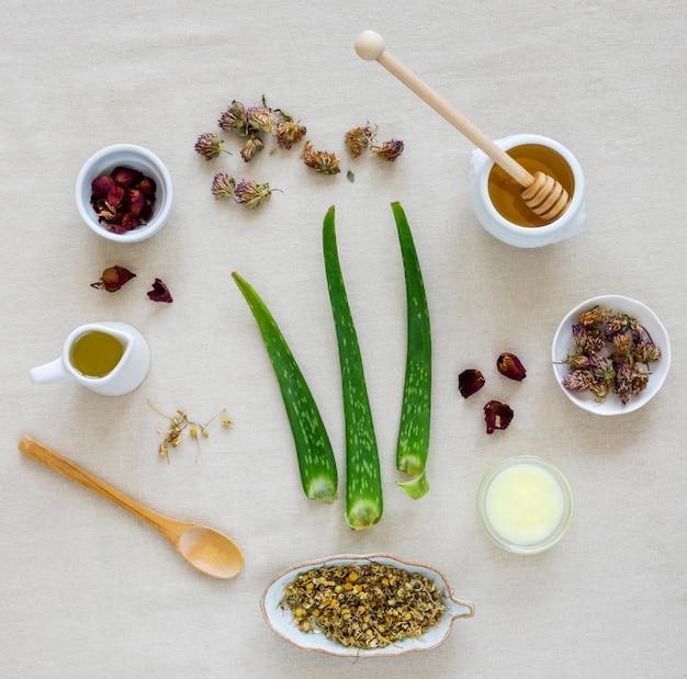 Lay piatto di spezie ed erbe medicinali
