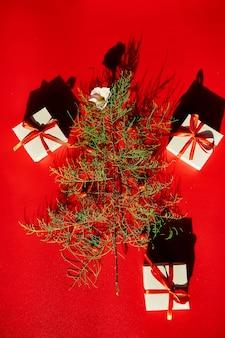 Lay piatto di foglie di aghi a forma di albero di natale con fiori e bacche, regali scatola albero di natale decorato su uno sfondo rosso