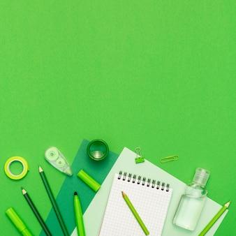 Elementi di scuola piatta laici su sfondo verde