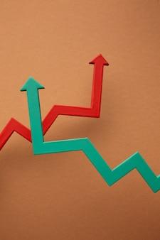 Disposizione piatta della presentazione delle statistiche con le frecce