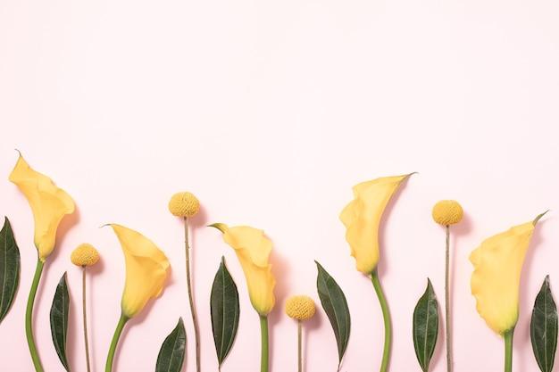 Flatlay di carta regalo su sfondo rosa. sfondo floreale. priorità bassa di concetto di primavera estate. disposizione piana, vista dall'alto.