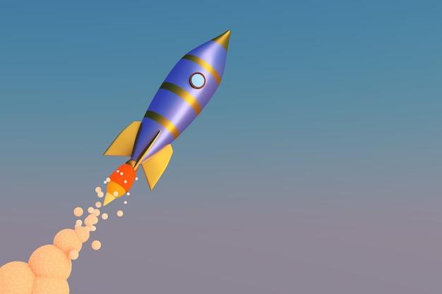 Volo del razzo. il concetto di startup. rendering 3d