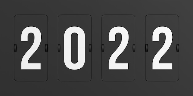 Flip black scoreboard 2022. illustrazione 3d