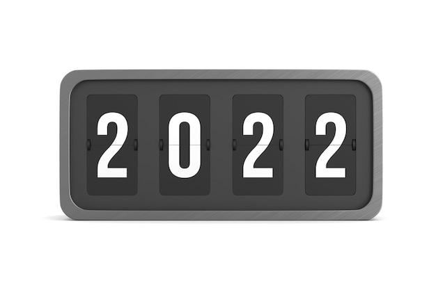 Flip tabellone segnapunti nero 2022 su sfondo bianco. illustrazione 3d isolata