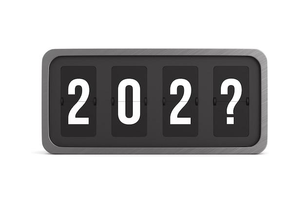 Capovolgere il tabellone segnapunti nero su sfondo bianco. anno nuovo sconosciuto. illustrazione 3d isolata