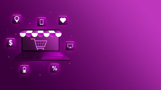 Portatile 3d galleggiante con visiera del negozio e icone dei prodotti e carrello sullo schermo.