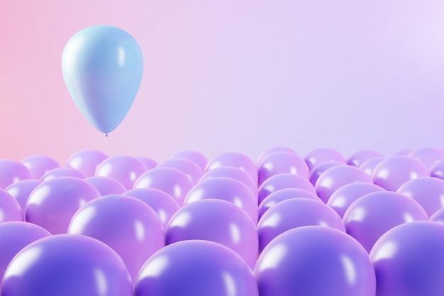 Palloncini galleggianti con uno in rendering 3d blu