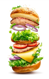 Hamburger galleggiante isolato