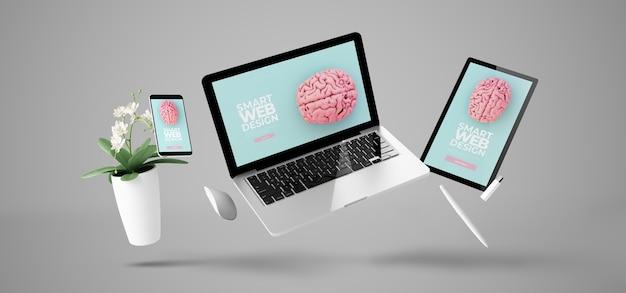 Dispositivi galleggianti che mostrano rendering 3d di progettazione di siti web reattivi intelligenti