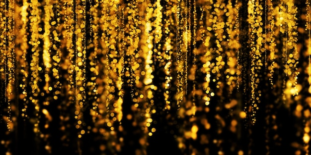 Bokeh d'oro galleggiante sfondo nero polvere di stelle d'oro 3d illustrazione