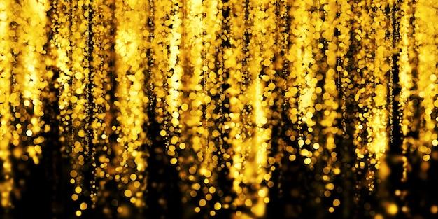 Illustrazione 3d di polvere di stelle dorata con sfondo nero bokeh oro galleggiante