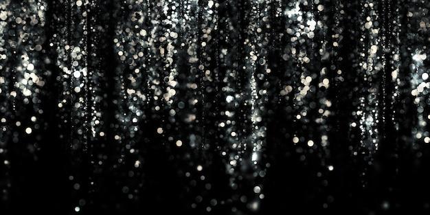Bokeh d'argento galleggiante sfondo nero argento stardust illustrazione 3d