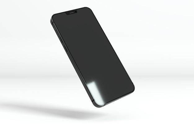 Smartphone galleggiante su sfondo bianco