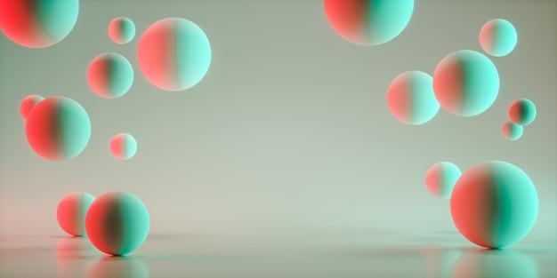 Sfere galleggianti 3d rendering spazio vuoto per l'esposizione del prodotto