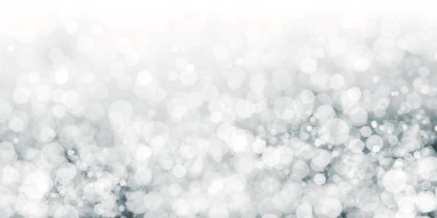 Bokeh bianco galleggiante sfondo nero polvere di stelle bianca 3d illustrazione