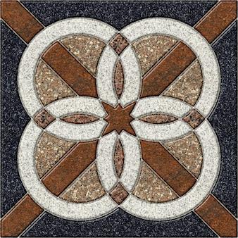 Piastrelle in pietra decorativa per pavimenti con un motivo. elemento per l'interior design in granito colorato naturale
