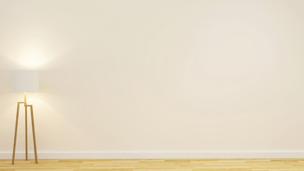 Lampada da terra nella stanza vuota per materiale illustrativo - rappresentazione 3d