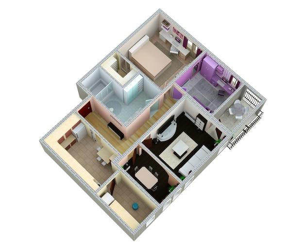 Planimetria dell'appartamento o della casa. rendering 3d.