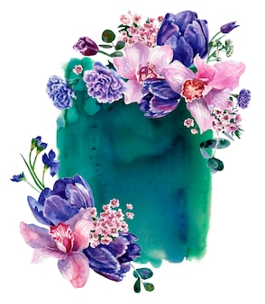 Composizione floreale sullo sfondo della macchia verde dell'acquerello, isolato su bianco. pittura a mano