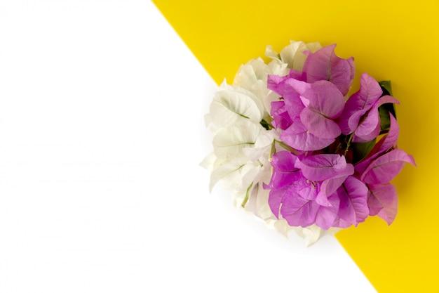 Composizione floreale fatta di fiori rosa e bianchi su sfondo giallo. vista piana, vista dall'alto.