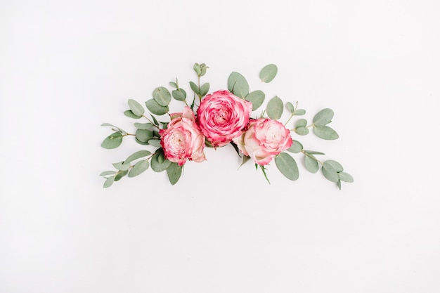 Composizione floreale con boccioli di fiori rosa rosa ed eucalipto su sfondo bianco. disposizione piatta, vista dall'alto