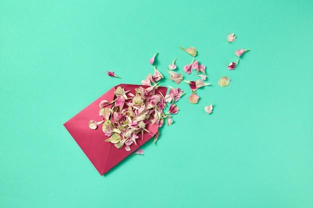 Biglietto di congratulazioni floreale con busta viola di petali di fiori su uno sfondo turchese chiaro e posto per il testo. lay piatto