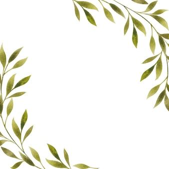 Cornice floreale, bordo, vuoto, modello isolato su bianco. illustrazione botanica dell'acquerello per lo spazio della copia, carta, saluto, invito. elemento di design di foglie verdi.