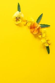Composizione cornice floreale. disposizione di fiori della pansé su fondo giallo con lo spazio della copia