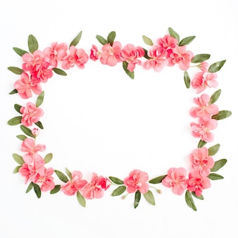 Cornice floreale fatta di fiori di ortensie rosa, foglie verdi, rami su bianco