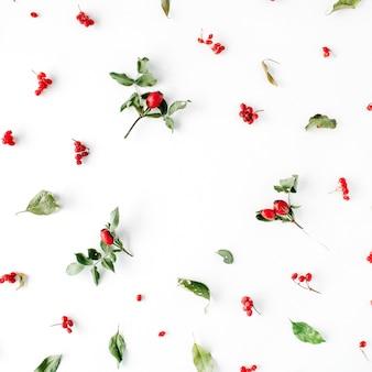 Cornice floreale con motivo di disposizione di bacche creative minimo su bianco.