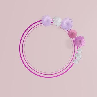 Cornici floreali. ghirlanda floreale sul rosa