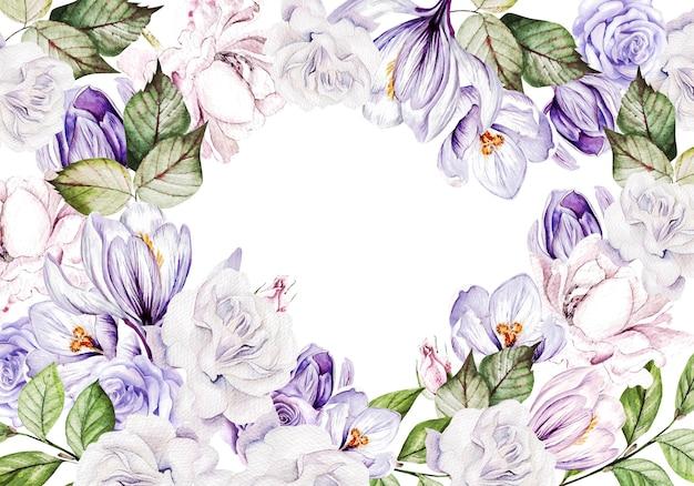 Biglietto di auguri floreale con crocus in fiore e foglie di giardino
