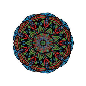 Motivo turco mandala disegnato a mano floreale ornamento floreale colorato rotondo in tradizionale oriental