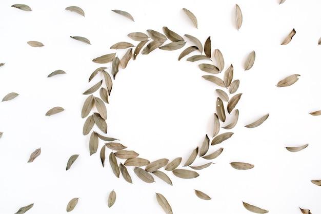 Motivo floreale e cornice rotonda ghirlanda foglie secche isolate su bianco
