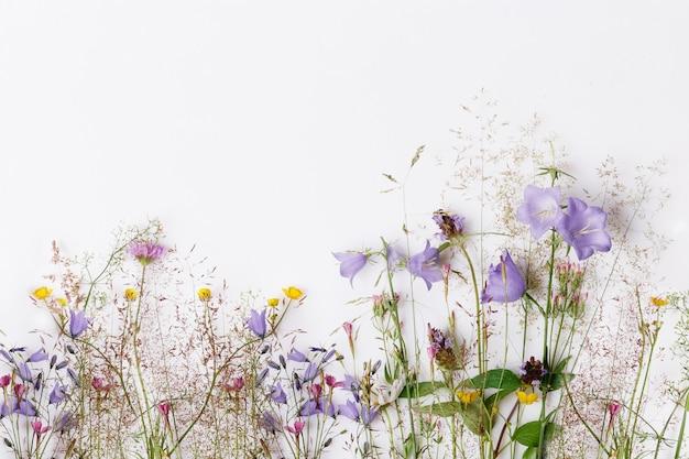 Motivo floreale con fiori di campo colorati, foglie verdi, rami su sfondo bianco. disposizione piana, vista dall'alto. compleanno, mamma, san valentino, donna, concetto di giorno delle nozze.