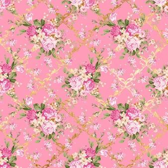 Motivo floreale con sfondo rosa e ornamento modello oro
