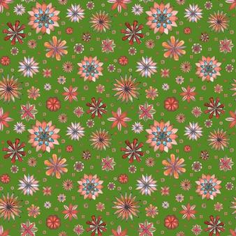 Modello boho etnico astratto senza cuciture floreale. fiori variopinti disegnati a mano dell'acquerello su fondo verde. carta da parati, involucro, tessile, tessuto